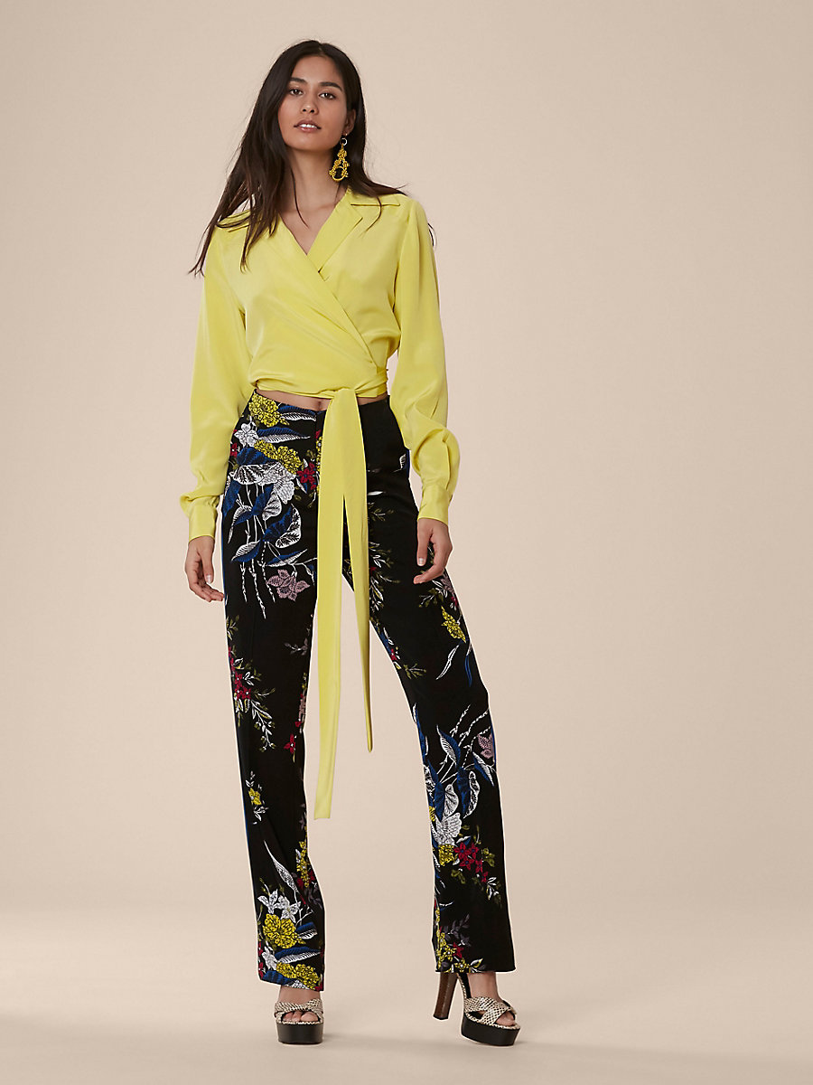 Taped Straight Leg Pants in Camden Black/cove by DVF