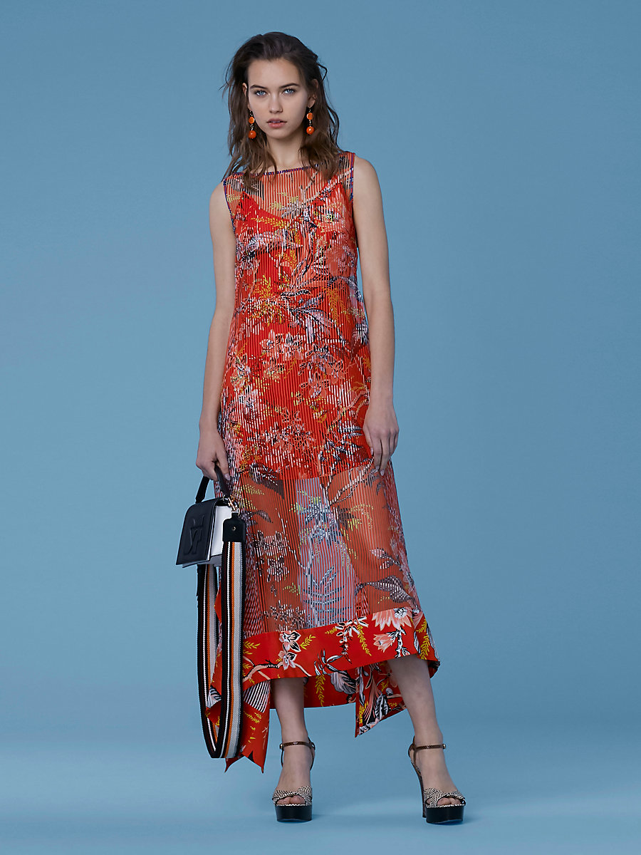 Boat Neck Midi Dress in Avalon Poppy by DVF