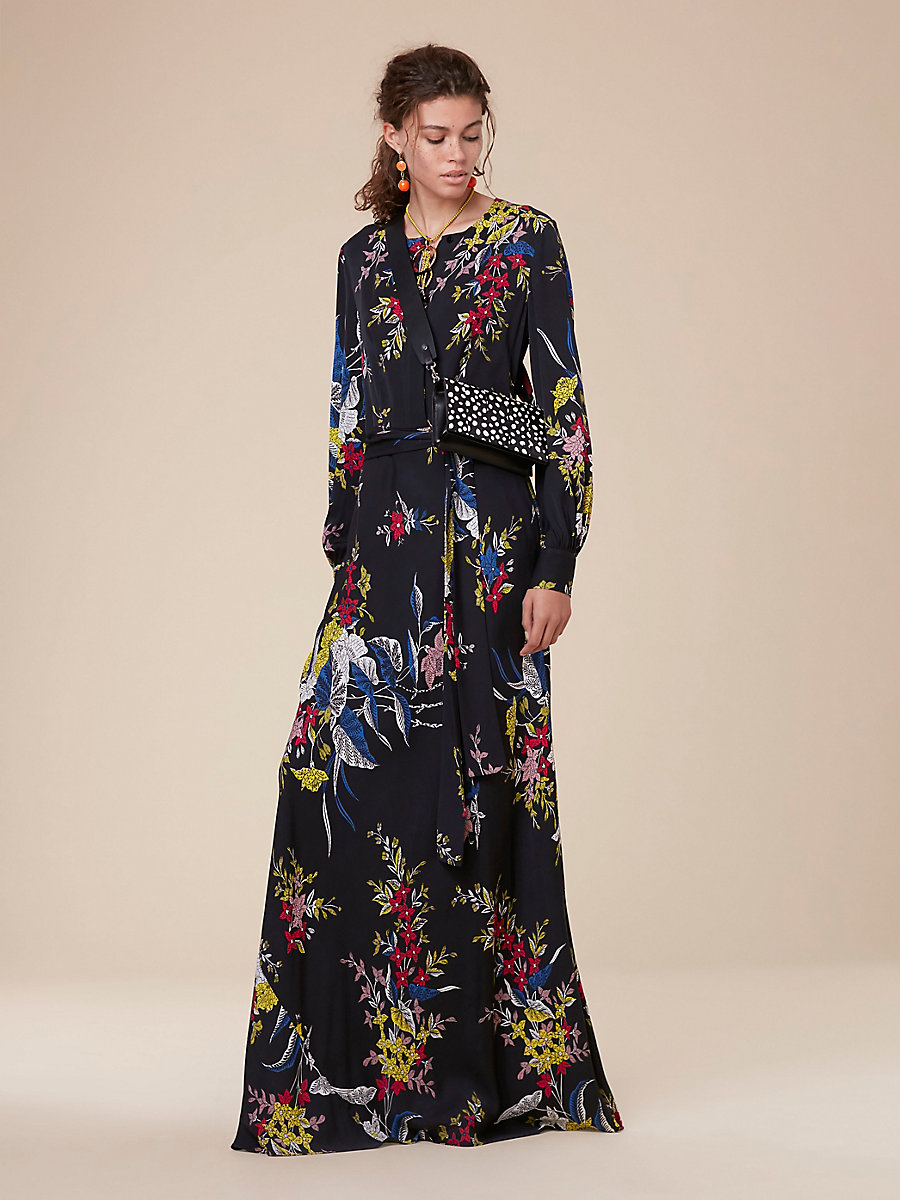 Waist Tie Maxi Dress in Camden Black by DVF