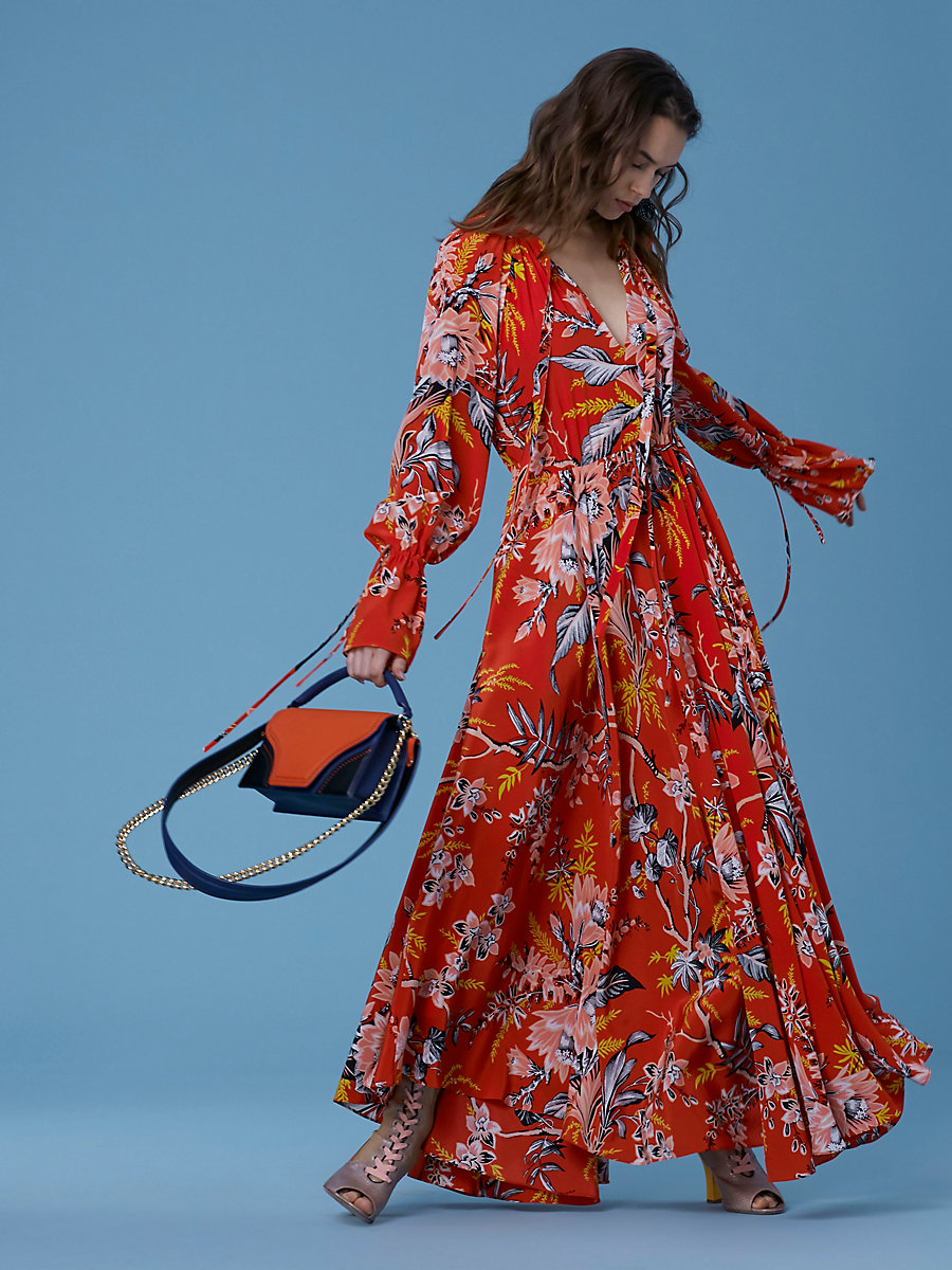 Cinch Sleeve Maxi Dress in Avalon Poppy by DVF