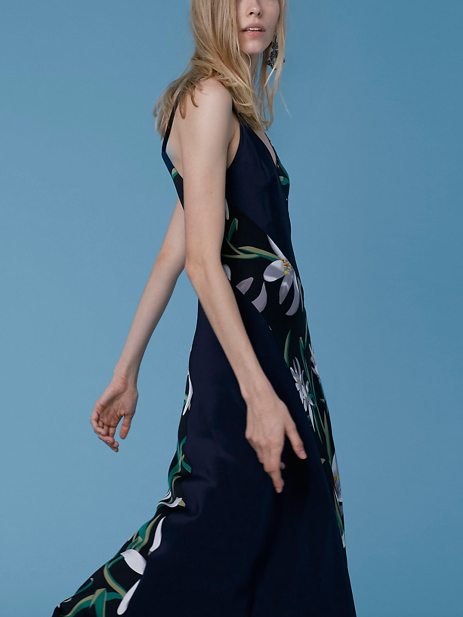 Paneled Maxi Dress in Harlow Black/alexander Navy by DVF