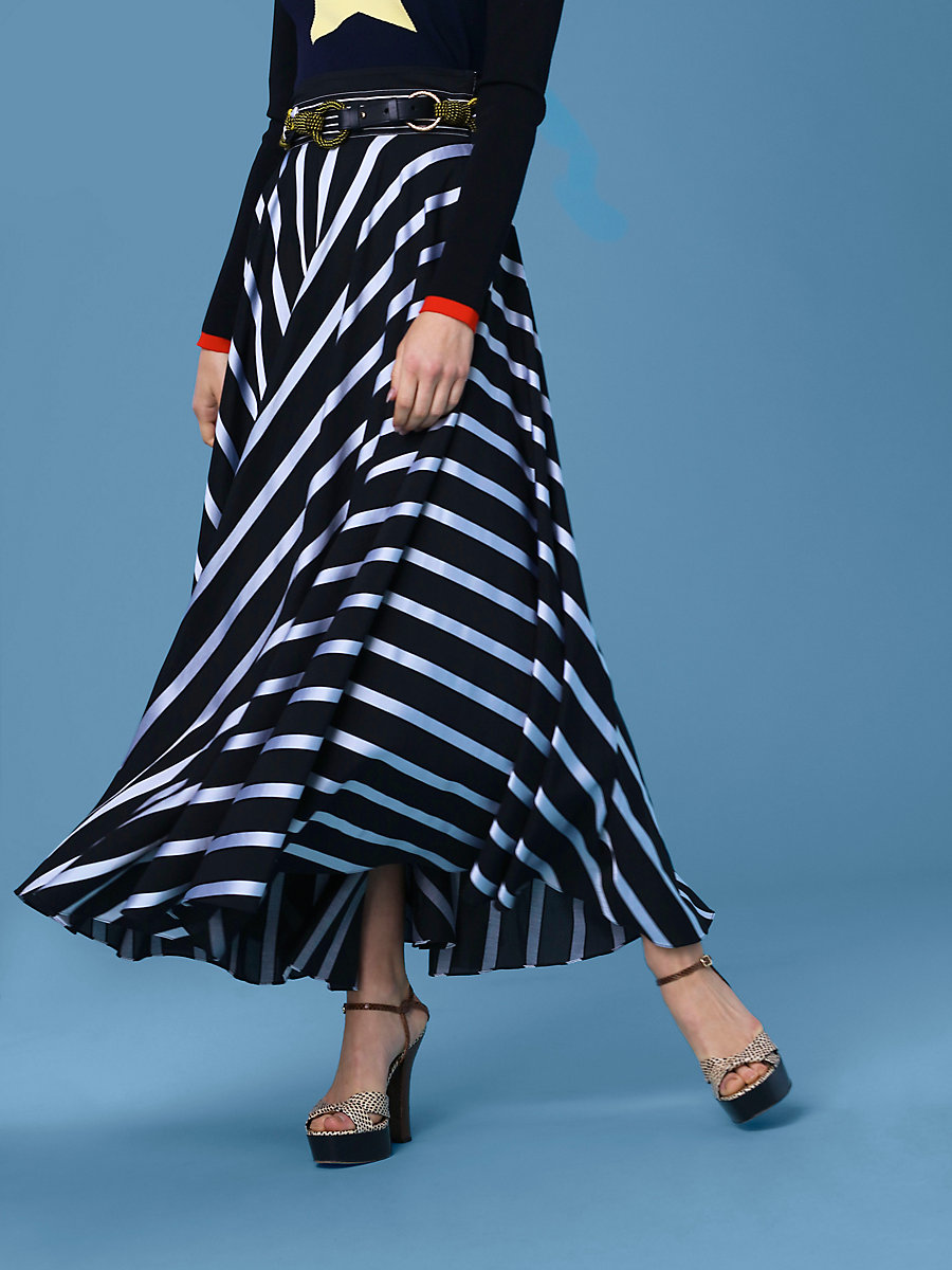 High-Waisted Draped Maxi Skirt in Black/ White by DVF