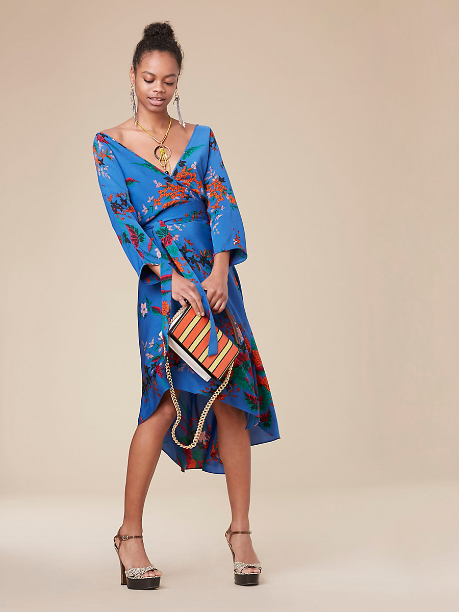 Asymmetric Hem Mini Dress in Camden Cove by DVF