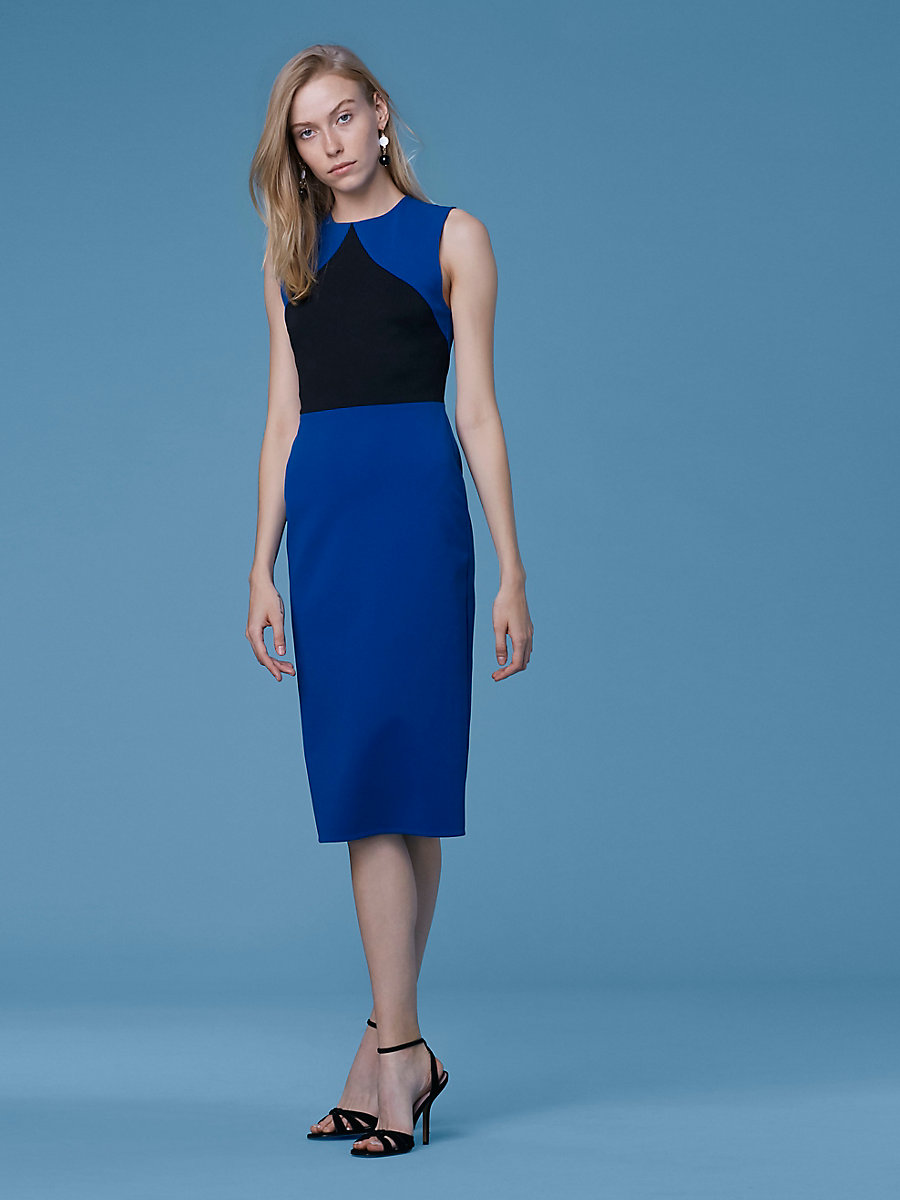 Color Block Sheath Dress in Cove/black by DVF