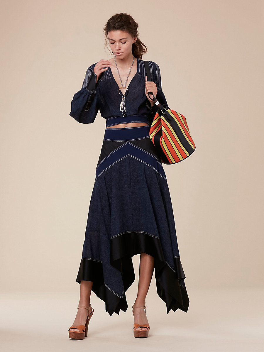 Plunge Pintuck Blouse in Indigo/black/alexander Navy by DVF