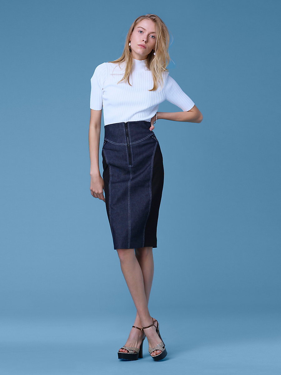 Zip Front Jean Skirt in Indigo/black/alexander Navy by DVF