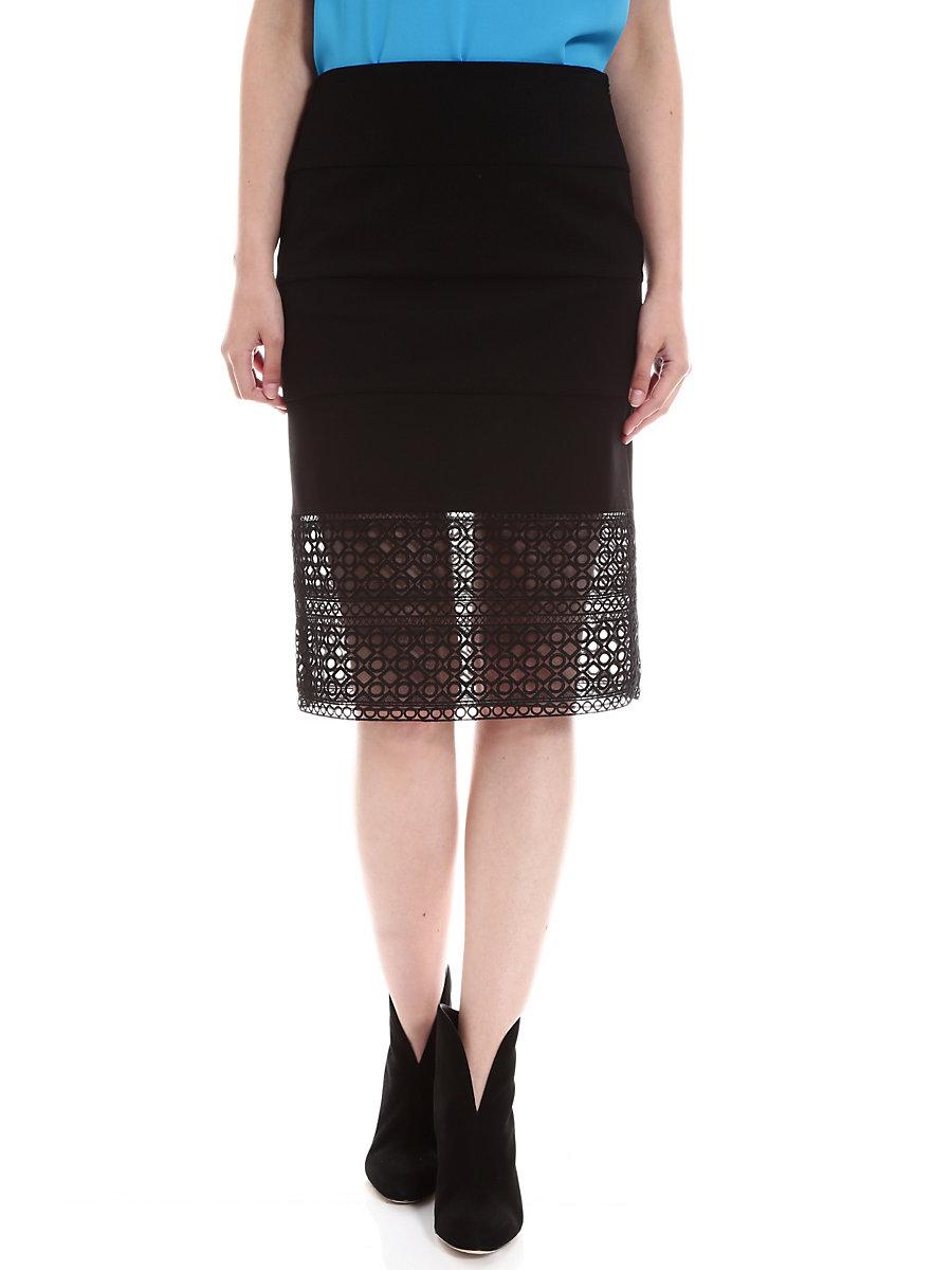 Tia Skirt in Black by DVF