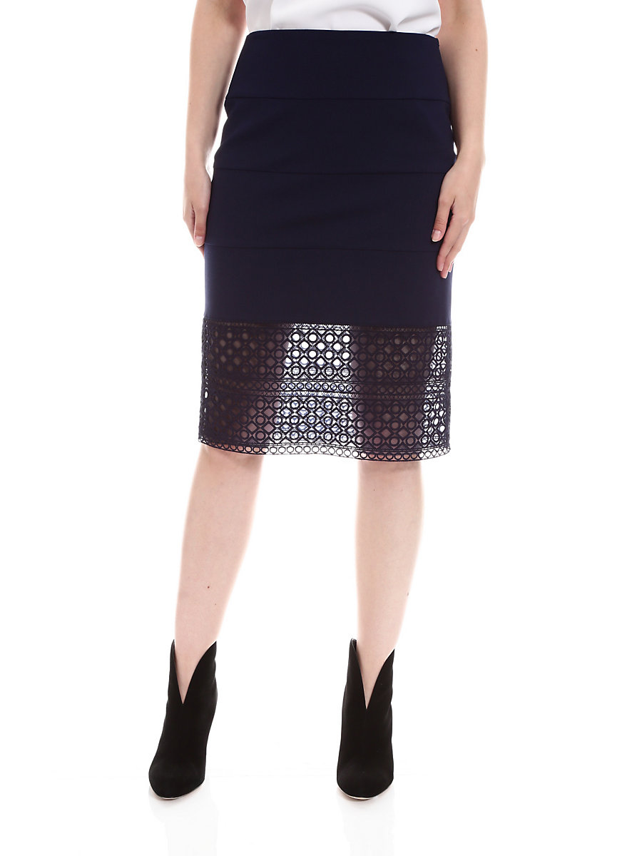Tia Skirt in Navy by DVF