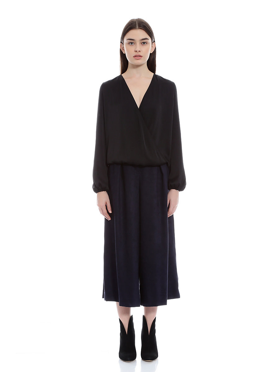 Faux Suede Wide Pants in Navy by DVF