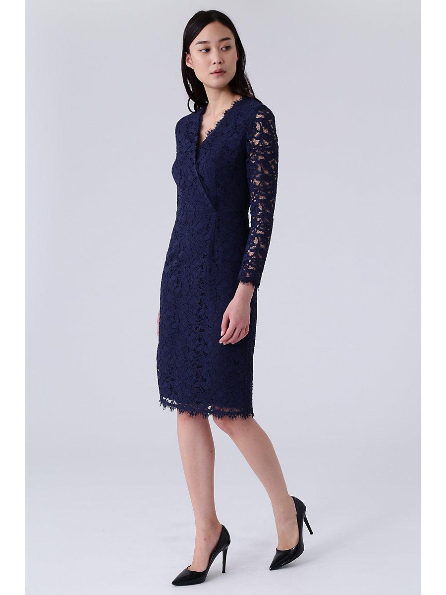Lace V Neck Dress in Navy by DVF
