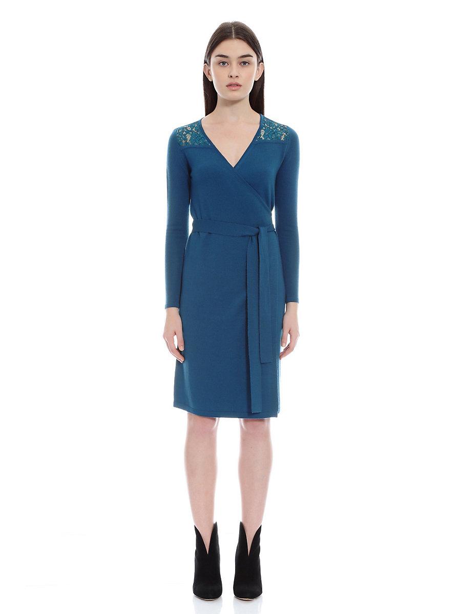 Knit Wrap Dress in Blue by DVF