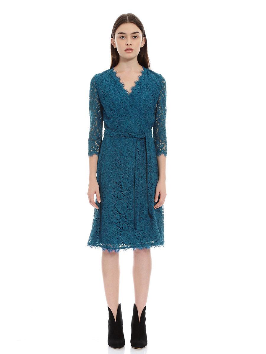Lace Wrap Dress in Blue by DVF
