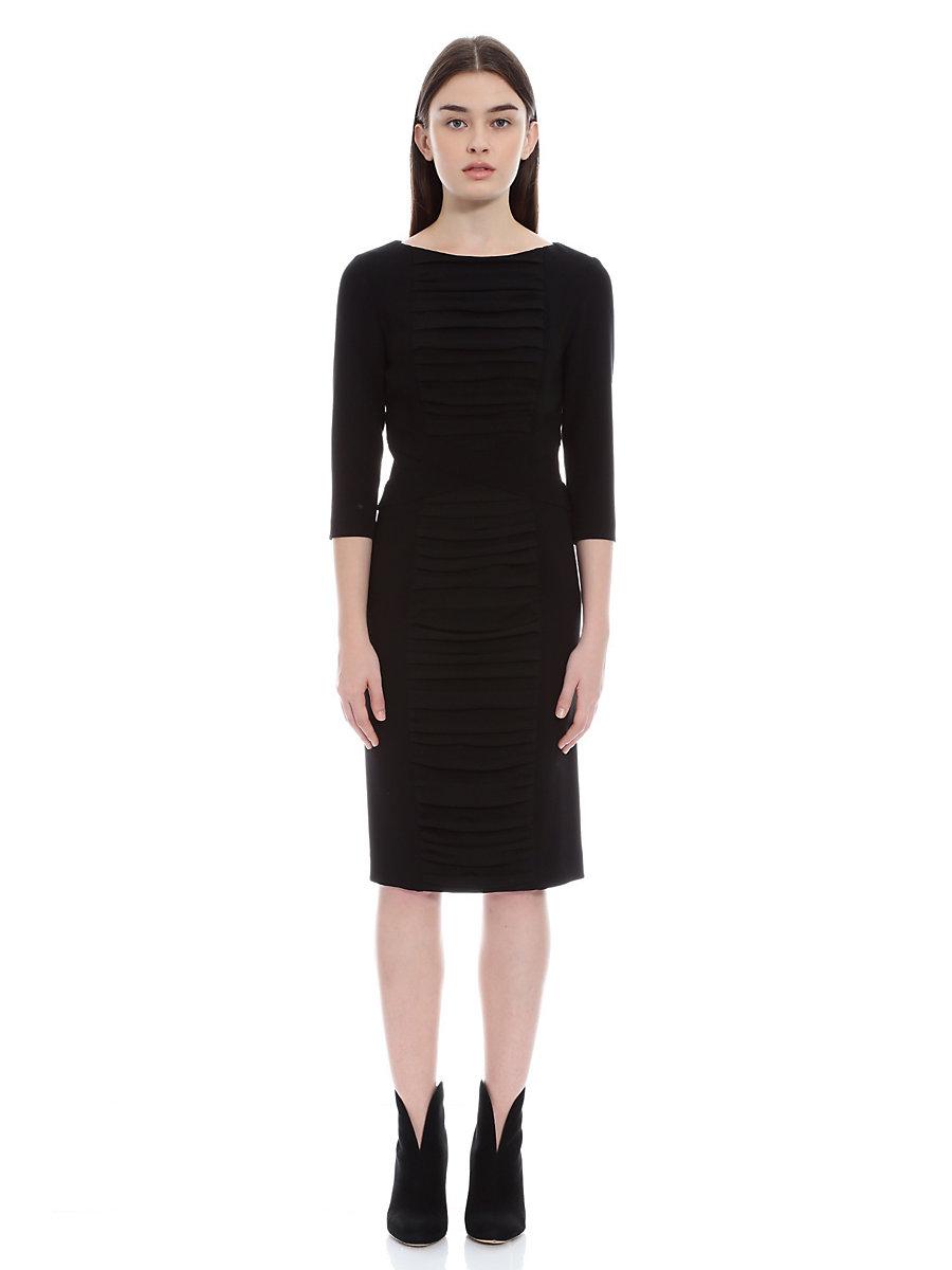 Drape Gather Dress in Black by DVF