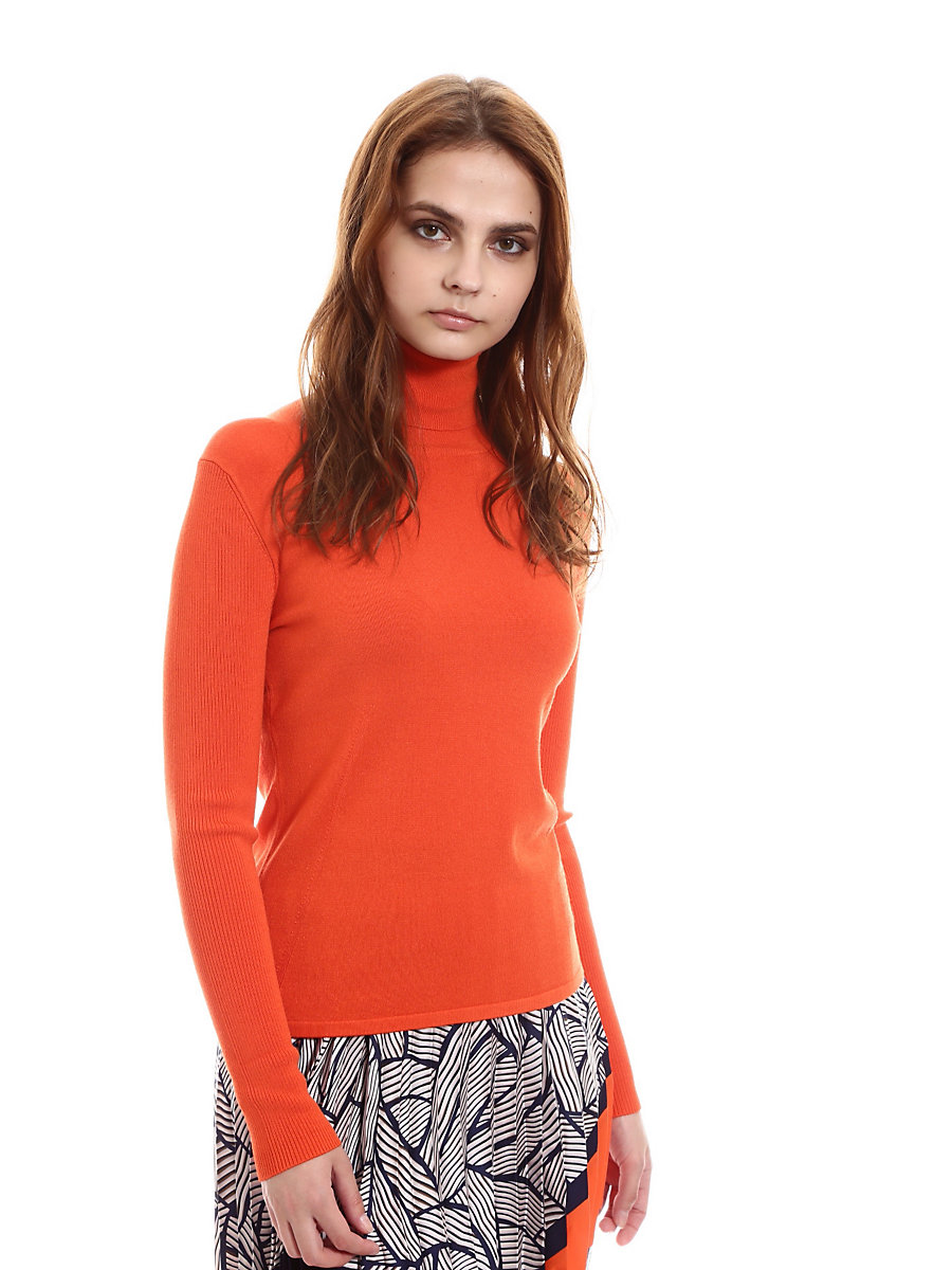 Talita Turtleneck Top in Orange by DVF