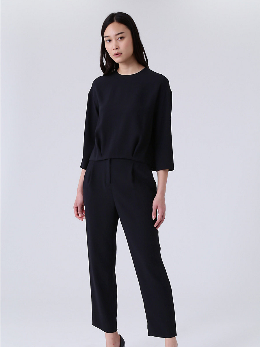 Satin Pull Over Blouse in Black by DVF