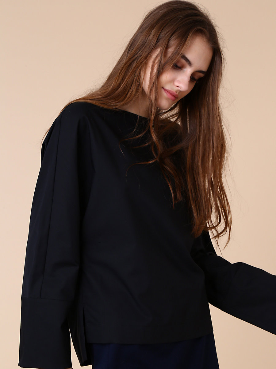 Long Sleeve Blouse in Black by DVF