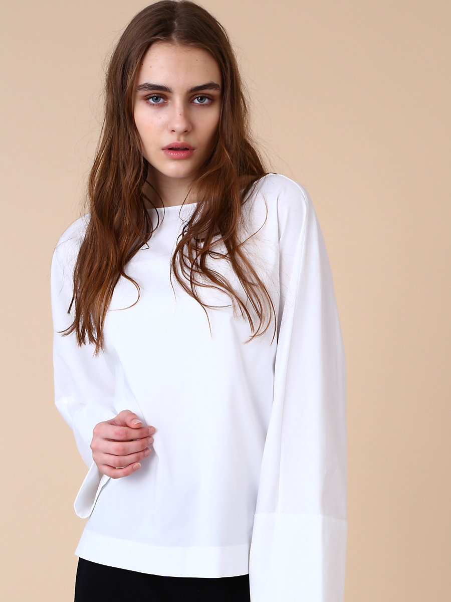 Long Sleeve Blouse in White by DVF