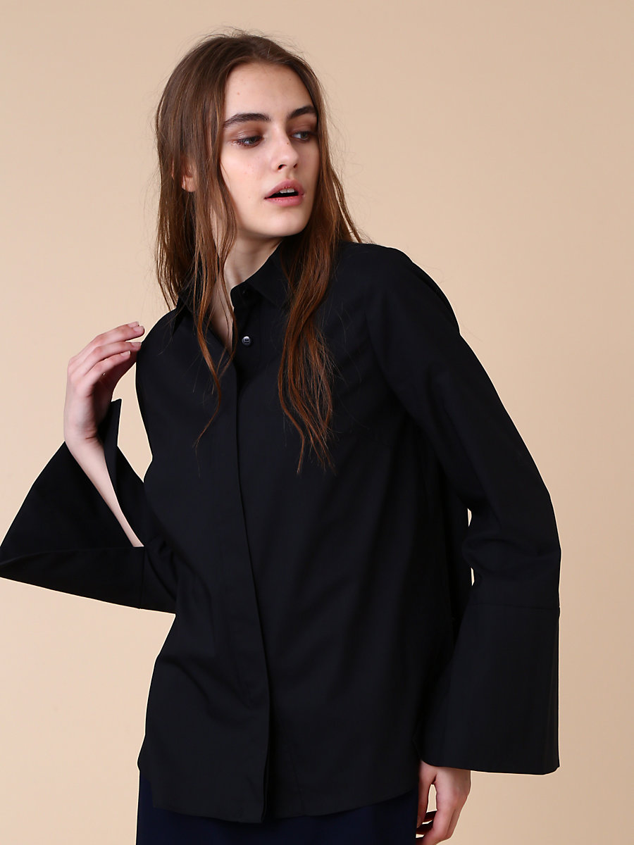 Long Sleeve Shirt in Black by DVF