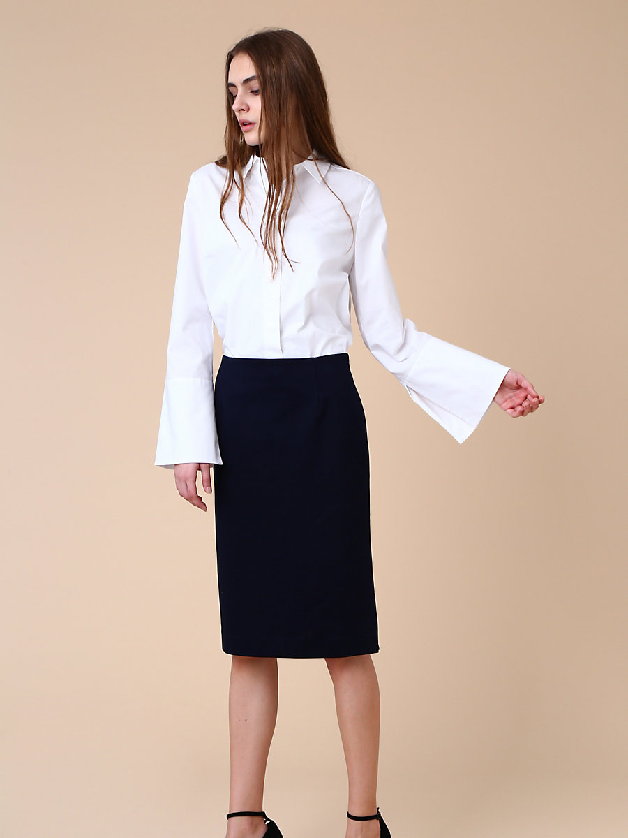 Long Sleeve Shirt in White by DVF