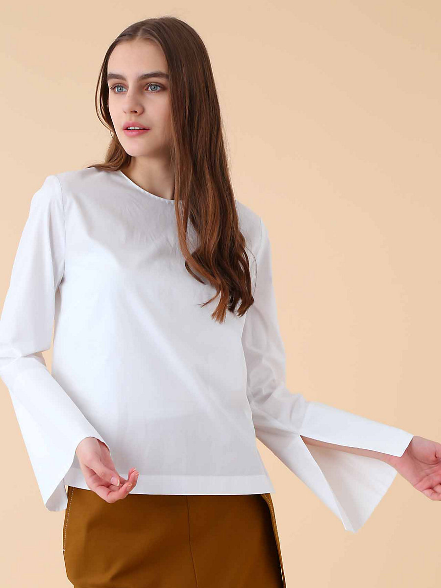 Crew Neck Blouse in White by DVF