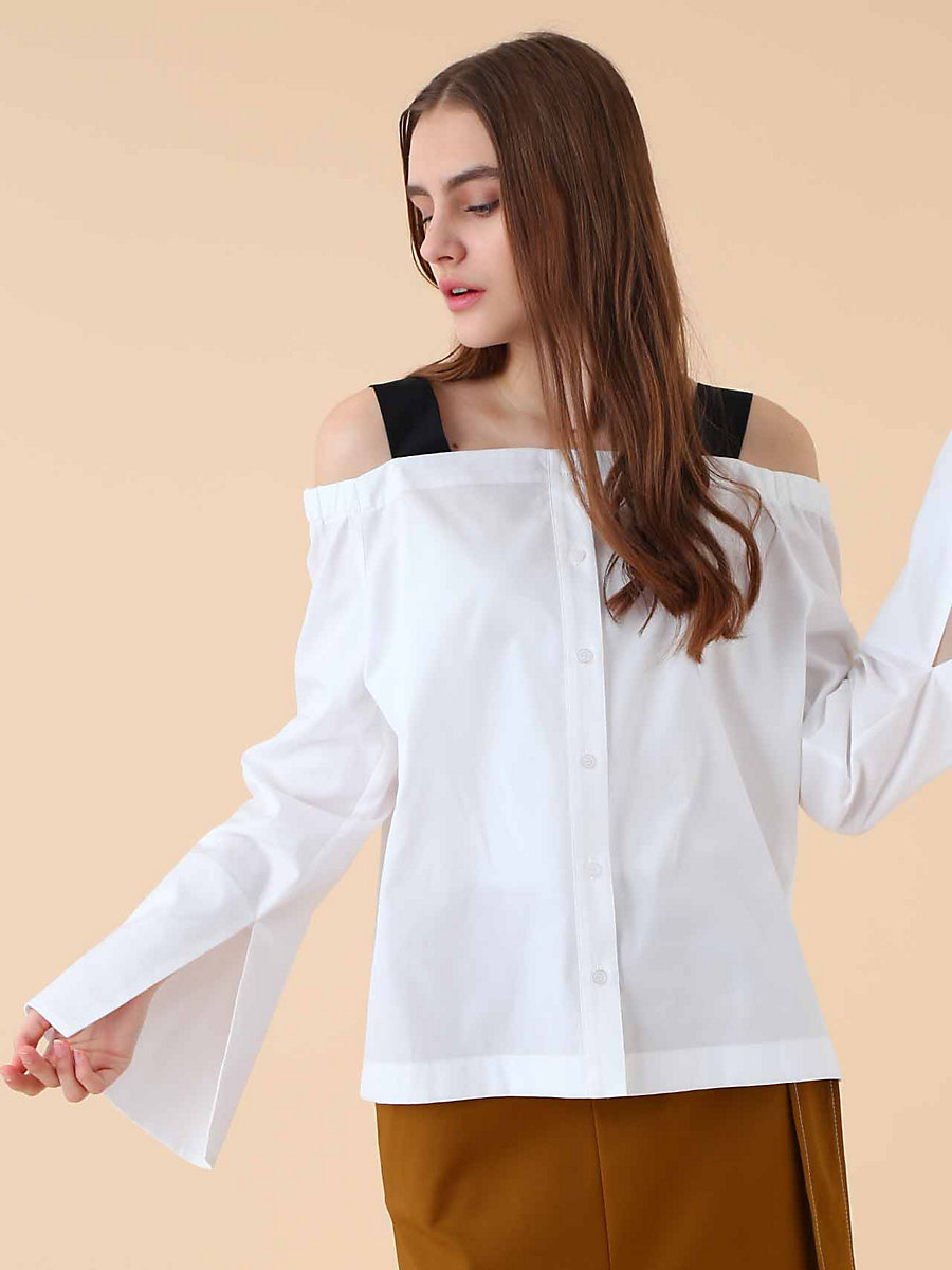 Off Shoulder Blouse in White by DVF