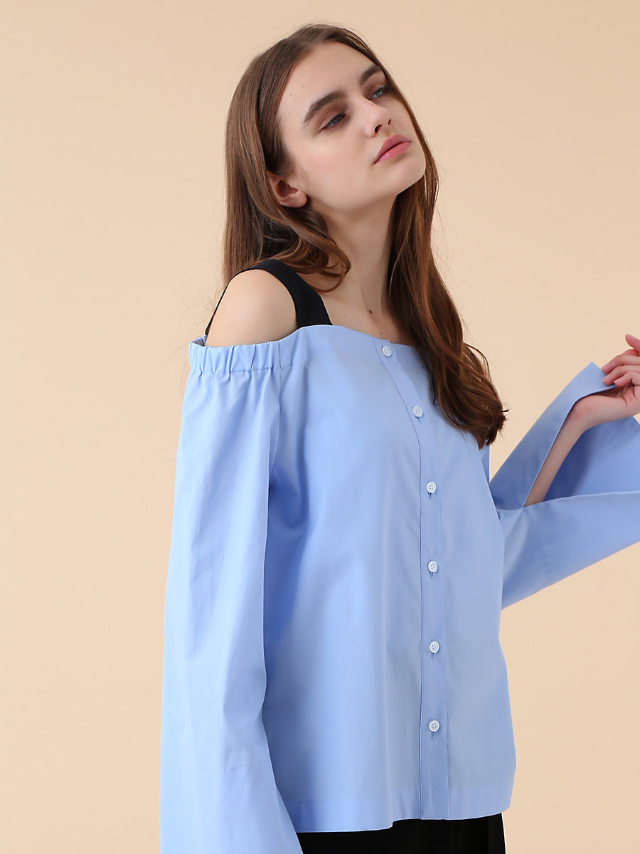 Off Shoulder Blouse in Blue by DVF