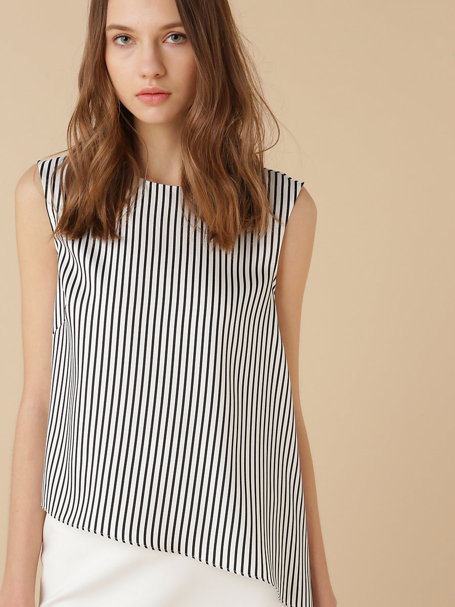 Stripe Asymmetric Top in Black by DVF