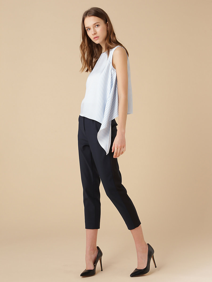 Stripe Asymmetric Top in Blue by DVF