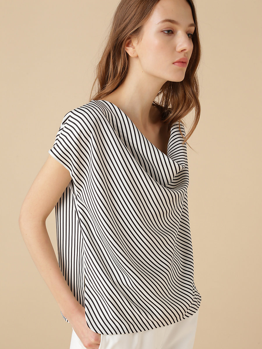 Open Back Stripe Top in Black by DVF