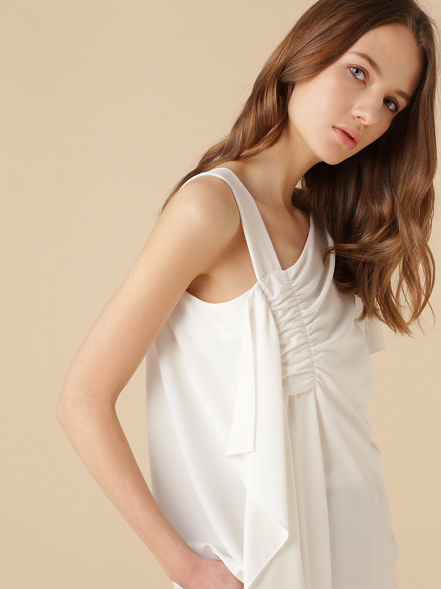 Asymmetrical Ruffle Top in White by DVF