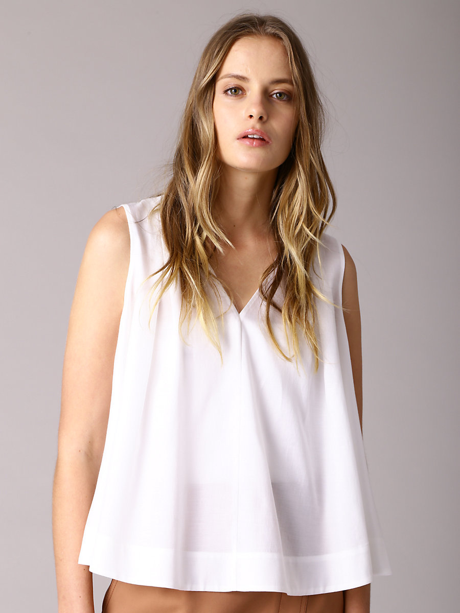 Tuck Blouse in White by DVF