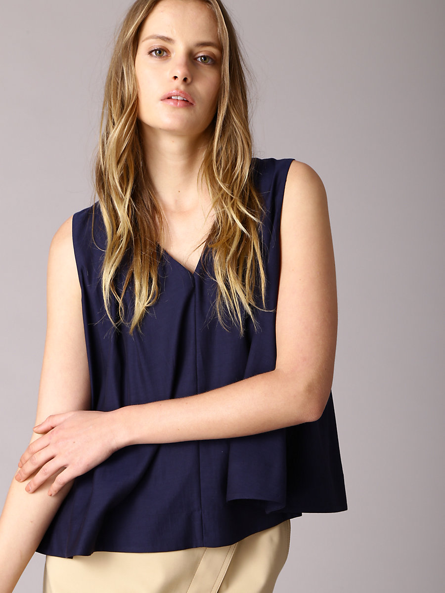 Tuck Blouse in Navy by DVF