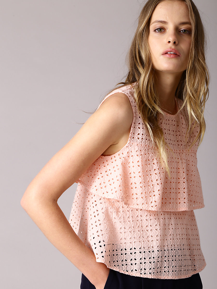 Tiered Frill Blouse in Pink by DVF