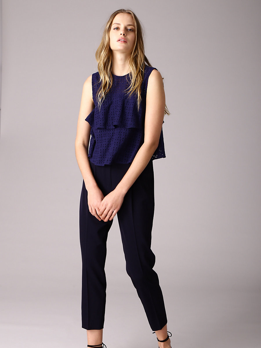 Tiered Frill Blouse in Navy by DVF