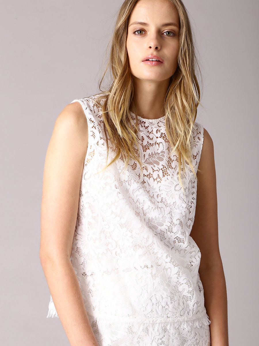 Lace Blouse in White by DVF