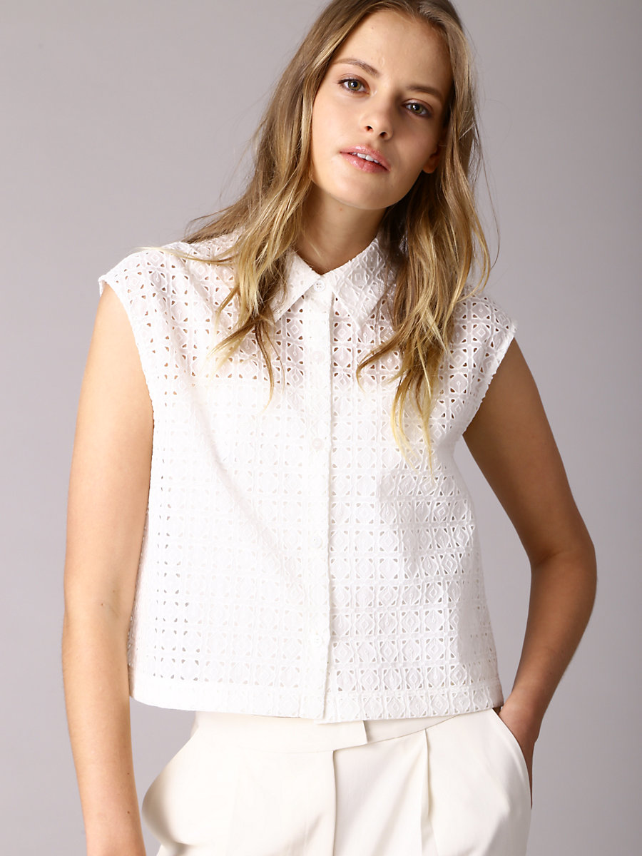 Cutout Lace Shirt in White by DVF