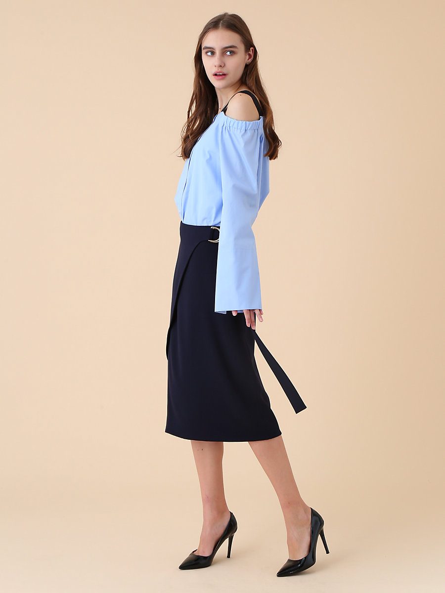 Wrap Style Skirt in Navy by DVF
