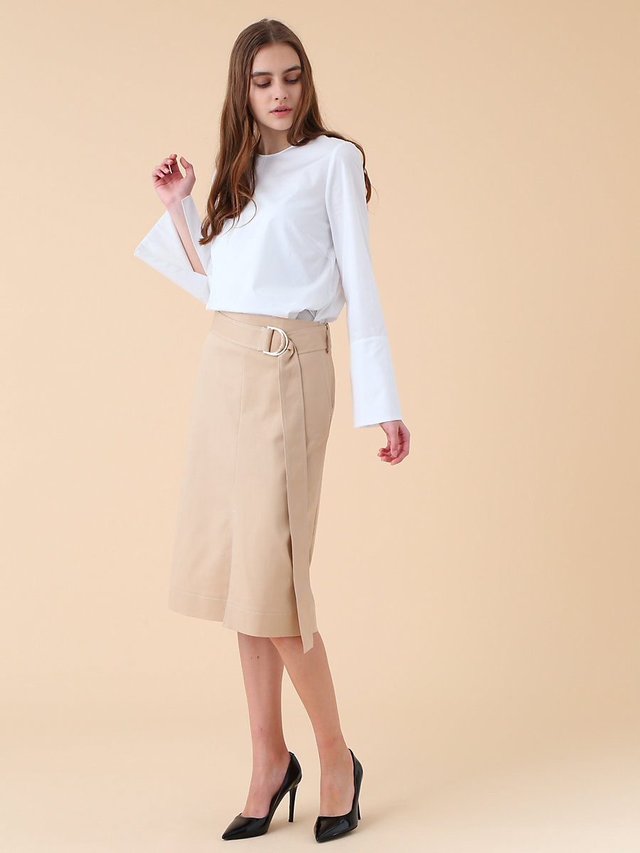 Belted D Ring Skirt in Beige by DVF