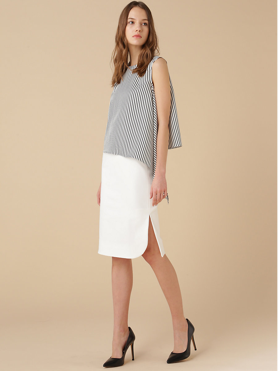 Taylored Tight Skirt in White by DVF