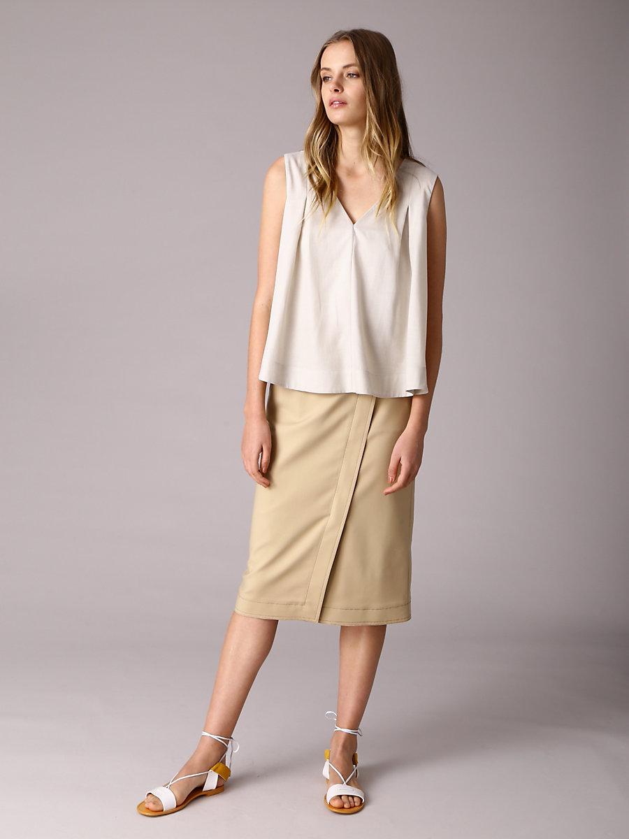 Wrap Skirt in Beige by DVF