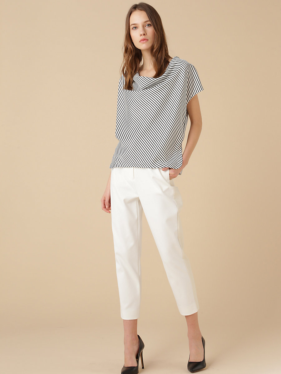 Stretch Pant in White by DVF