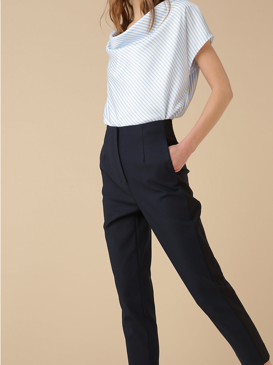 Stretch Pant in Navy by DVF