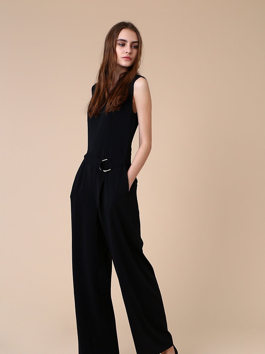 Belted Jumpsuit in Black by DVF