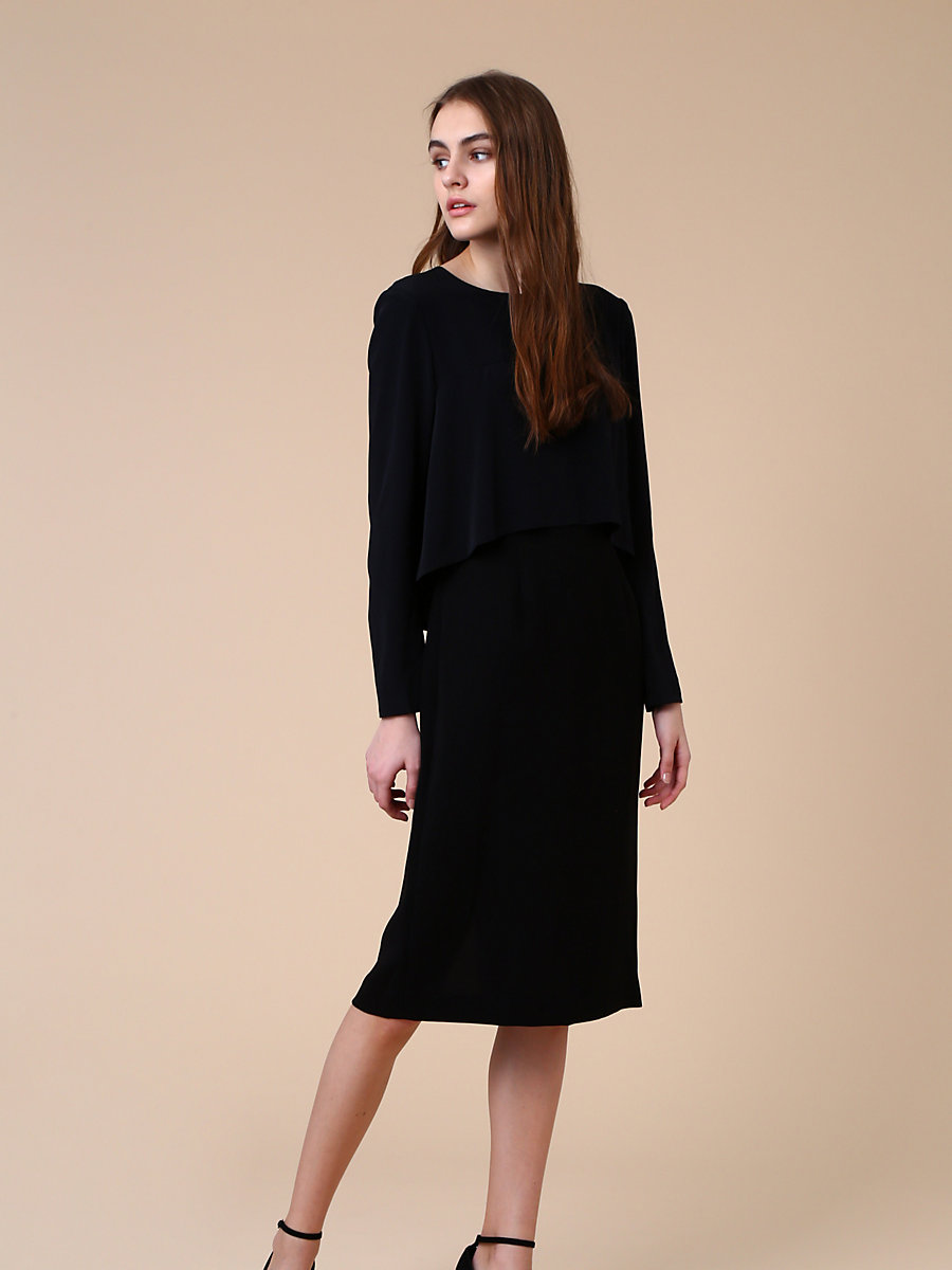 Front Drape Layer Dress in Black by DVF