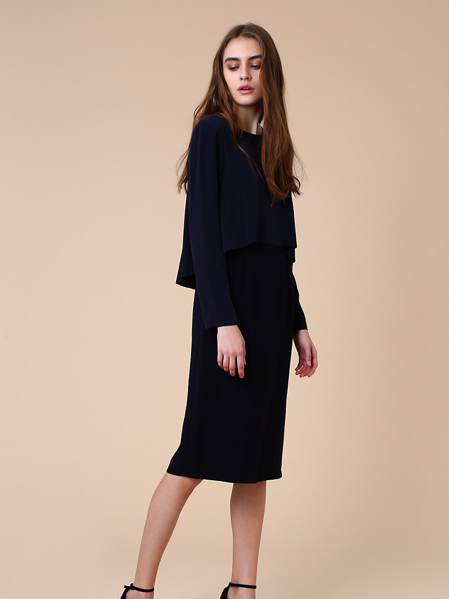 Front Drape Layer Dress in Navy by DVF