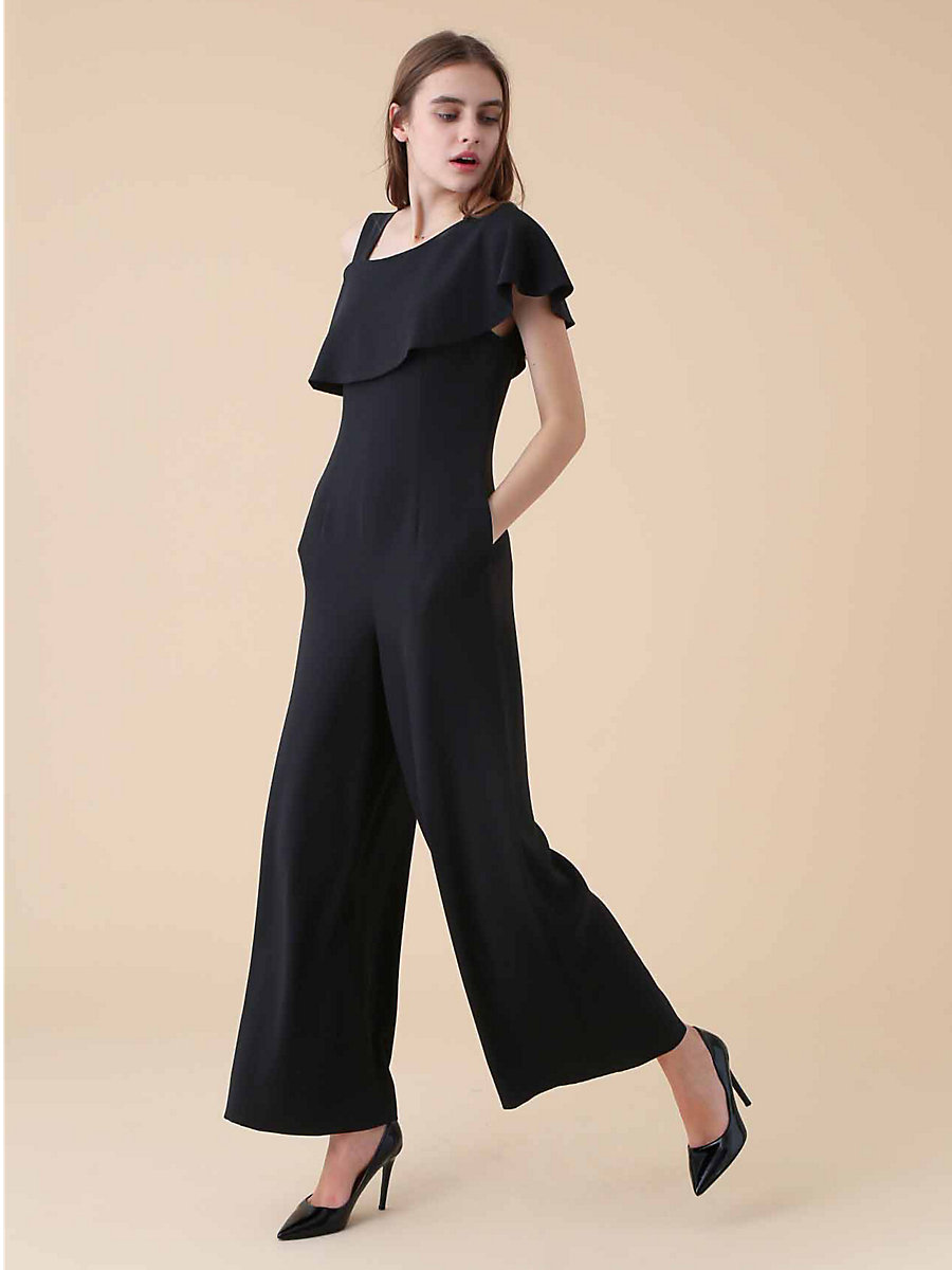 One Shoulder Asynmetric Jumpsuit in Black by DVF