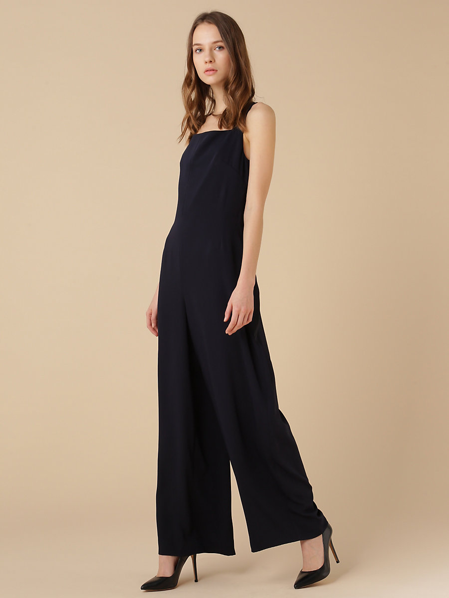Belted Jumpsuit in Navy by DVF
