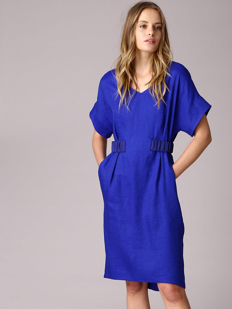Linen Dress in Blue by DVF