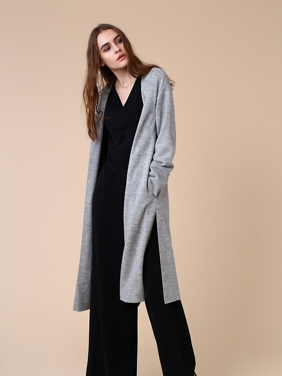 Collarless Coat in Grey by DVF