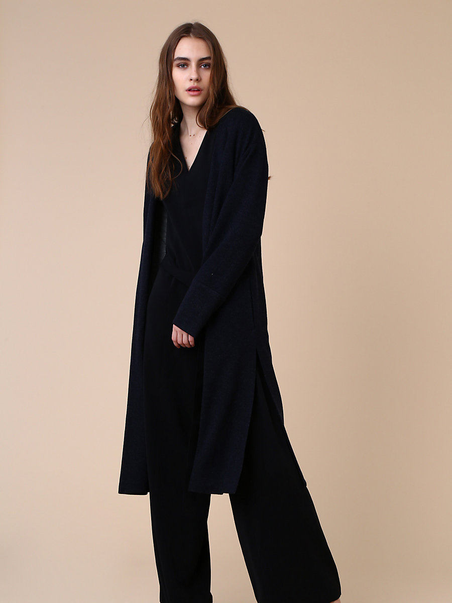 Collarless Coat in Navy by DVF
